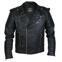 Men's Brando Motorcycle Black Leather Jacket With Padded Sleeves - $272.25+