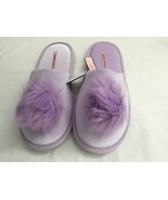 Victoria's Secret  Womens Dreamy Lavendar Pom Pom Velvet Slippers Size M(7-8) - $14.59