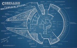 Star Wars Millennium Falcon Blueprint Print Sil... - $15.99