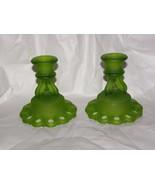 "VINTAGE WESTMORELAND GLASS DORIC SATIN GREEN CANDLESTICKS 4 1/2"" - $19.79"