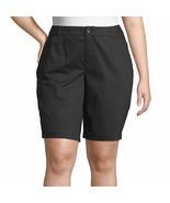 St. John's Bay Women's Plus Mid Rise Bermuda Shorts Size 24W Black NEW 1... - £19.56 GBP