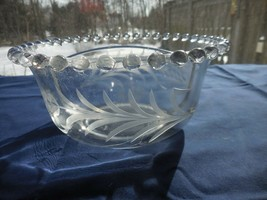 Candlewick Divided glass Mayo Bowl Dish Etched/Cut with Wheat pattern Im... - $9.99