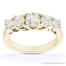 Forever ONE D-E-F Round Cut Moissanite 14k Yellow Gold Trellis Wedding Ring Band - €738,68 EUR - €2.377,22 EUR