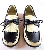 Womens Tommy Bahama Slip On Shoes Size 7 Beige with Black Leather Kiltie - $74.95