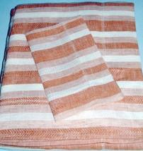 Sferra Ascot F/Queen Duvet Cover Paprika/White 100% Linen Herringbone Stripe - $214.90