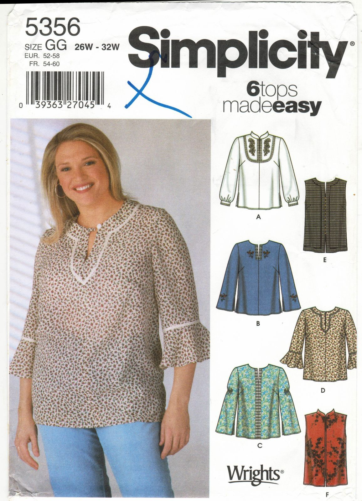 58c5c1814bd4 Womens Plus Size Loose Fit Boho Peasant Tops Mandarin Collar Sew Pattern  26W-32W