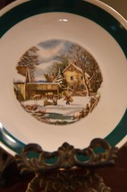 "Vntg Homer Laughlin Rhythm Currier & Ives The Farmers Home Winter Bread Plate 6"" - $19.99"