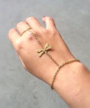 Slave Bracelet Gold Dragonfly Hand Chain Slave Bracelet Dragonfly Slave ... - $30.00