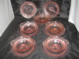 "Anchor Hocking Coronation Pink (5) Fruit/Dessert Bowls-5 1/2"" (7) Plates 6"" - $15.00"