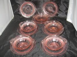 "Anchor Hocking Coronation Pink (5) Fruit/Dessert Bowls-5 1/2"" (7) Plates 6"" - $15.00"
