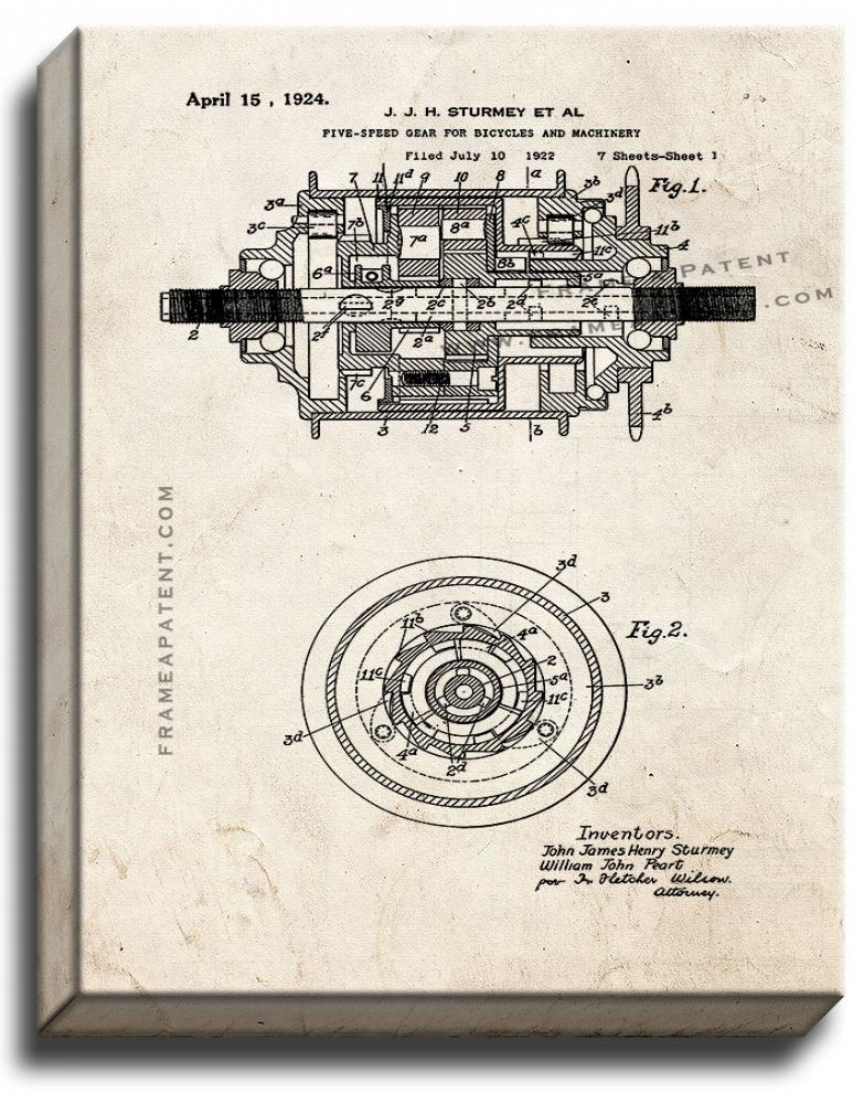 Primary image for Five-speed Gear for Bicycles and Machinery Patent Print Old Look on Canvas