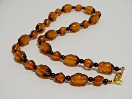 Joan Rivers Necklace Amber glass beads purple faux pearls lobster clasp - $26.99