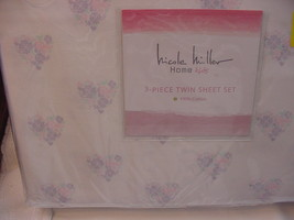 Nicole Miller Kids Pink Lavender Floral Hearts on White Sheet Set Twin - $39.99