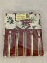 Longaberger Christmas Holiday Stripe Botanical Fabric Gift Bag Lunch Tot... - $14.89