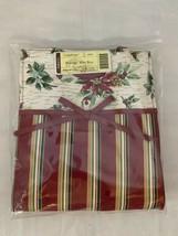 Longaberger Christmas Holiday Stripe Botanical Fabric Gift Bag Lunch Tot... - $14.89
