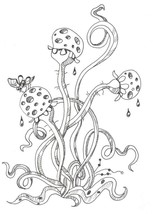 """Akimova: FLY ON FLOWER, ink, black&white, insect, 5.5""""x 8"""" - $11.00"""