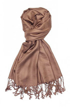 Tan Brown Fashion Pashmina Shawl Scarf 64 x 28 inches Tassels Womens - $9.11