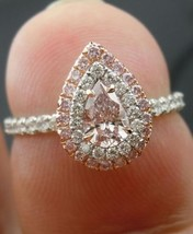 Certified 2.70Ct Baby Pink Pear Cut Diamond Engagement Ring in 14K White... - $282.10
