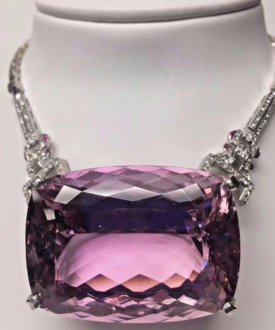New Huge Custom designer Flawless 284ct Kunzite diamond Platinum necklace Choker