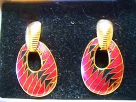 New W/ORIG Box Avon Multicolor Cloisonne Leverback DROP/DANGLE Earrings W/BOX - $6.99
