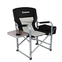 KingCamp Heavy Duty Steel Camping Folding Director Chair with Cooler Bag... - $72.85