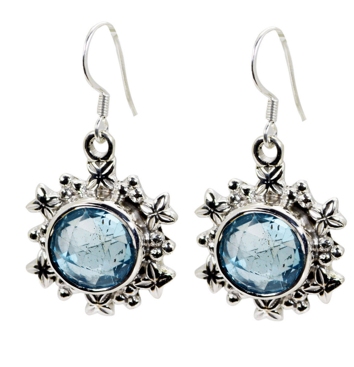 inviting Blue Topaz 925 Solid Sterling Silver Blue Earring Natural gemstone US