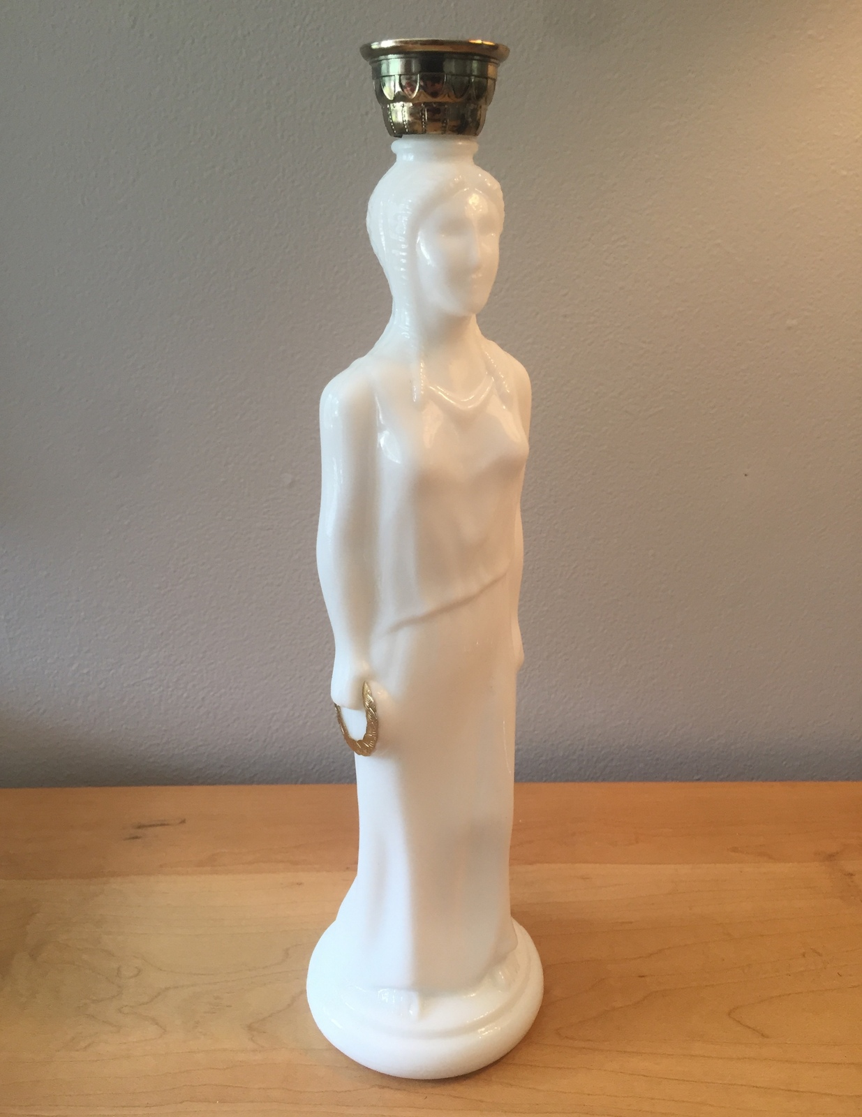 70s Avon Greek Goddess milk glass and gold accent bath oil bottle (Skin so Soft)