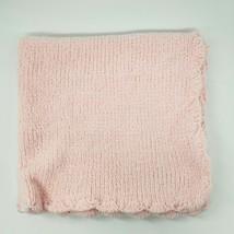 Angel Dear Pink Chenille Girls Baby Loft Blanket Scallop Edge Knit Security B97 - $29.99