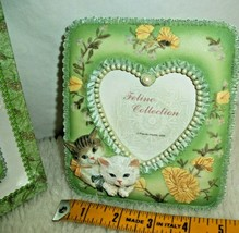Cats Picture Frame 3 1/2 x 5 Photo Floral Heart Faux Pearl Crazy Cat Lad... - $13.85