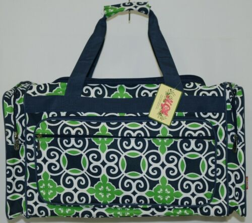 NGIL THQ423NAVY Sailor Print Canvas Duffle Bag Colors Navy Green and White