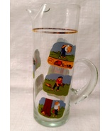 Golfer Martini Pitcher Glass Beaker Style Barware - Ashby Golf Cartoon - $11.99