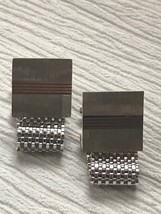 Vintage Swank Signed Silvertone Mesh Chain with Etched Square Cuff Links – marke - $12.19
