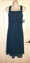 DAVID'S BRIDAL Empire Waist Peacock Blue 4 Chiffon Halter Bride's Maid D... - $35.00