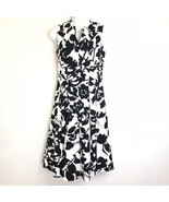Tyler Boe Floral Black White Print Sleeveless Pleated Fit n Flare Dress ... - $56.09