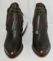 Lucky And Blessed SH 11 Dark Brown Leather Boots Fringe Metal Studs Size 10 image 2
