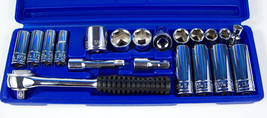 "21pc 3/8"" Drive Sae CR-V Socket Set Deep And Short With Case Professional Tool - $24.99"