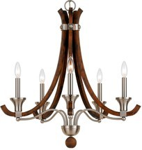 "Modern Country Wood & Brushed Steel Candlestick Chandelier 26""Wx26""H - £176.45 GBP"