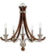 "Modern Country Wood & Brushed Steel Candlestick Chandelier 26""Wx26""H - €204,90 EUR"