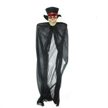 "Northlight 55"" Black Red Lighted Skull Reaper Cigar Hanging Halloween Decor - £22.92 GBP"
