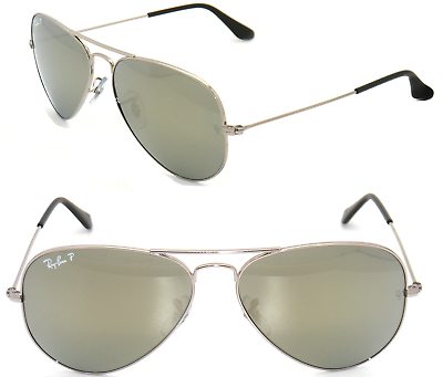 Neu Ray Ban Aviator RB3025 003/59 58mm Silber/Polarisierend Silber Spiegel image 6