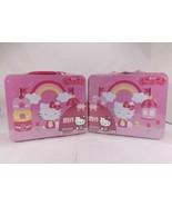 2 Sanrio Hello Kitty 100 Piece Puzzle Lunchbox Tin Castle Rainbow Polka ... - $29.08