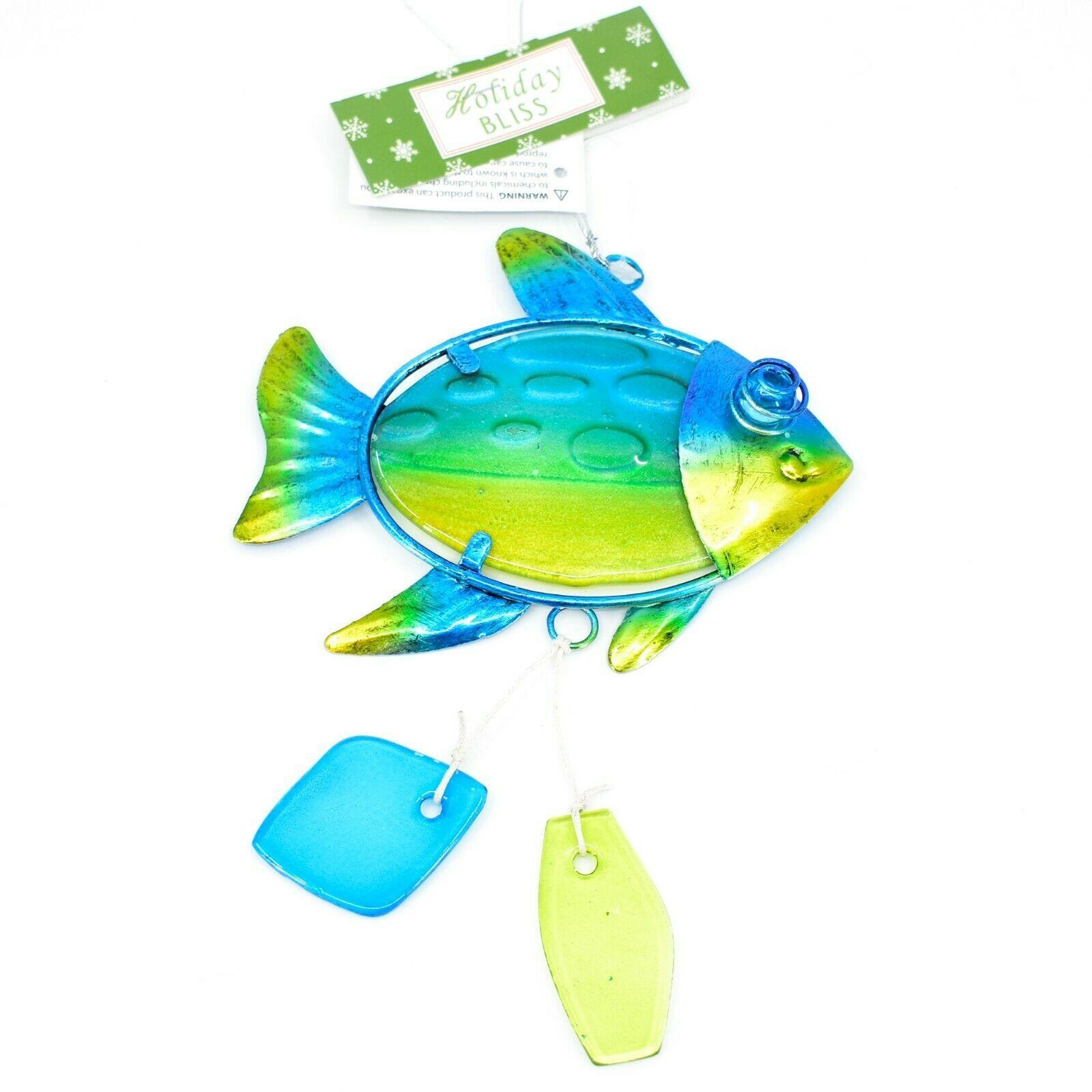 Metal & Glass Blue Green Fish Coastal Beach Ocean Marine Suncatcher Ornament