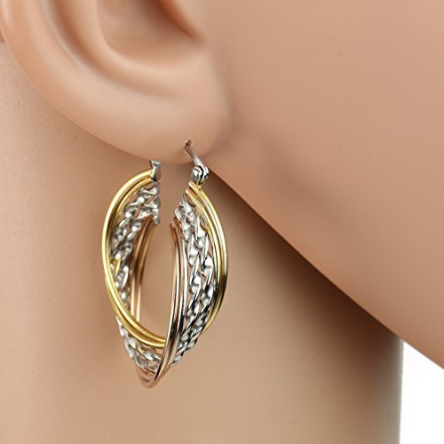 Twisted Tri-Color Silver, Gold & Rose Tone Hoop Earrings- United Elegance