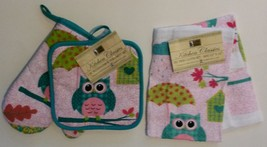 OWL KITCHEN SET 4pc Oven Mitt Potholder Dishcloths Turquoise Pink Bird NEW - $11.99