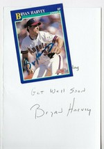 BRYAN HARVEY AUTOGRAPHED SCORE CARD & HAND WRITTEN GET WELL CALIFORNIA A... - $4.98