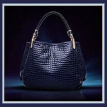 European Fashion Crocodile Style Genuine Leather Shoulder Braided Handle Handbag image 2