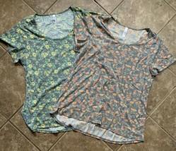 2xl 3xl LuLaRoe CLASSIC T SHIRT heathered gray yellow flowers pink orang... - $18.70