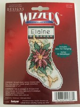 Wizzers Ornament Counted Cross Stitch Kit Poinsettia Christmas Personalize New - $8.99