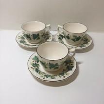 """3 Cups & Saucers Greenwood Nikko Tableware Ivy 6"""" - $14.50"""