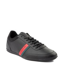 Mens Lacoste Storda Athletic Shoe Black Red Green Perforated Leather Uppers NEW - $134.99